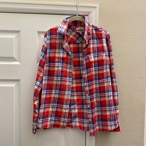 J. Crew Plaid Flannel Boy Shirt Button Down